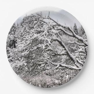"""Plato De Papel Nevado ramifica 9"""" la placa de papel"""