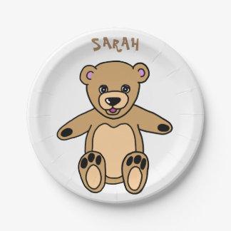 Plato De Papel Nombre lindo del oso de peluche de Brown