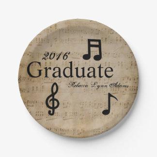 Plato De Papel Notas musicales - placa de papel de la graduación