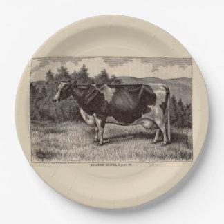 Plato De Papel Novilla del siglo XIX de Holstein de la impresión