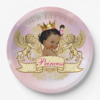 Plato De Papel Nuestra pequeña placa de la princesa afroamericano