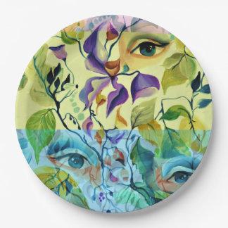Plato De Papel Ojos pintados de moda