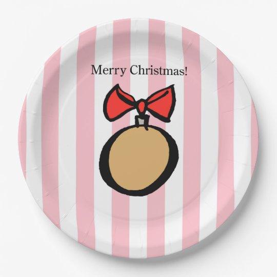Plato De Papel Ornamento 9 de las Felices Navidad adentro. Rosa