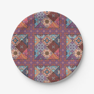 Plato De Papel Ornamento de Talavera del mosaico del vintage