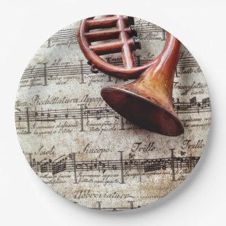 Plato De Papel Ornamento del cuerno en música