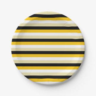 Plato De Papel Oro, blanco, beige y rayas negras