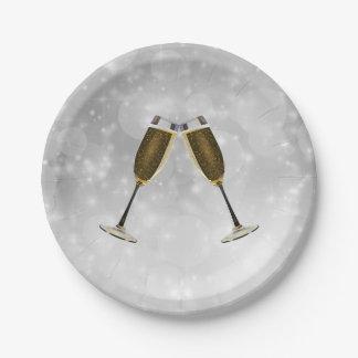 Plato De Papel Oro de la celebración de los vidrios de Champán en