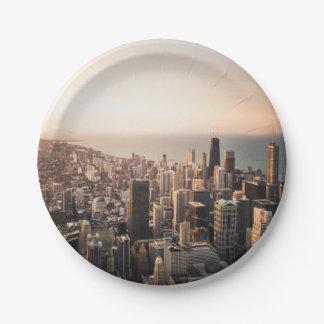 Plato De Papel Paisaje urbano de Chicago