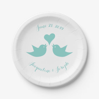 Plato De Papel Pájaros del amor con el boda de encargo del