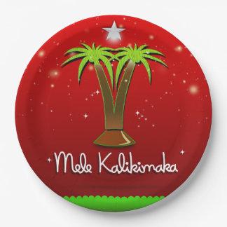 Plato De Papel Palmera de Mele Kalikimaka para Navidad