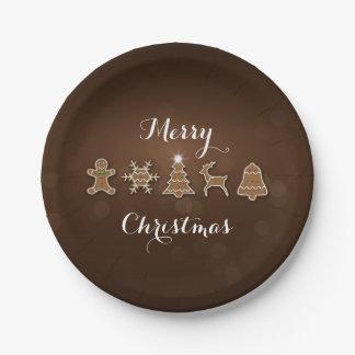 Plato De Papel Pan de jengibre noble del navidad - placa de papel