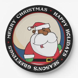 Plato De Papel Papá Noel negro con el saco del juguete