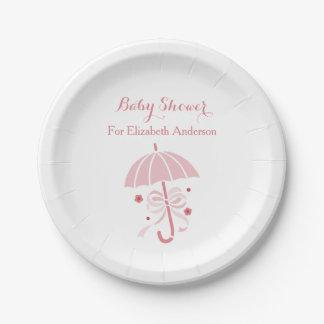 Plato De Papel Paraguas rosado lindo de la fiesta de bienvenida