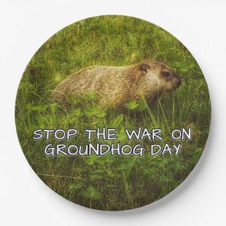 Plato De Papel Pare la guerra en las placas del día de la marmota