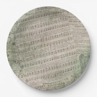 Plato De Papel Partitura irlandesa del vintage, el llevar del