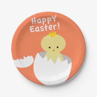Plato De Papel Pascua feliz que trama el polluelo