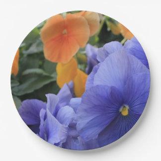 Plato De Papel Pensamientos púrpuras y anaranjados con la foto