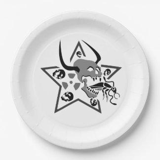Plato De Papel Pentagram de griterío del cráneo
