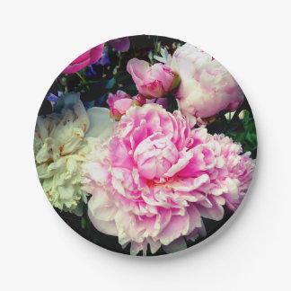 Plato De Papel Peonies rosados y blancos