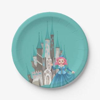 Plato De Papel Pequeños princesa y castillo en turquesa