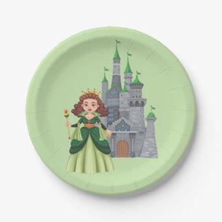 Plato De Papel Pequeños princesa y castillo en verde