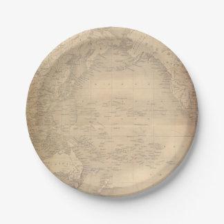 Plato De Papel Pergamino viejo del mapa del mundo del vintage