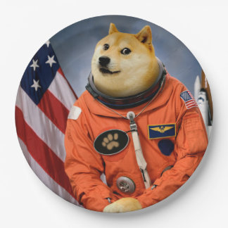 Plato De Papel perro del astronauta - dux - shibe - memes del dux