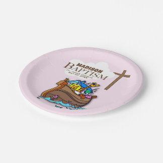 Plato De Papel Personalizable, la arca de Noah del bautismo de la