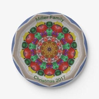 Plato De Papel ~ personalizado ~ del fractal del navidad de la