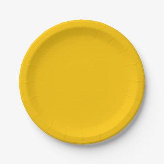 Plato De Papel Personalizar ambarino del color sólido él