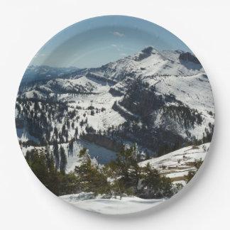 Plato De Papel Picos nevados de las montañas magníficas de Teton
