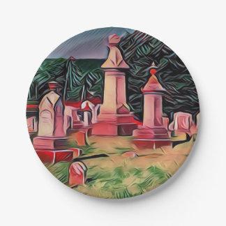 Plato De Papel Piedras sepulcrales iluminadas del cementerio