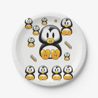 Plato De Papel Pingüinos de las placas de papel