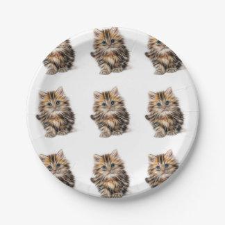Plato De Papel Pintura adorable del gatito