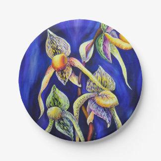 Plato De Papel Pintura de las orquídeas azules
