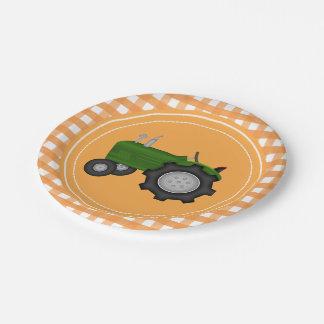 Plato De Papel Placa anaranjada del fiesta del tractor de la