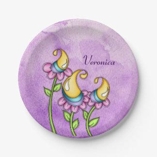 Plato De Papel Placa de la flor del Doodle de la acuarela de la