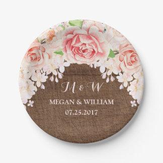 Plato De Papel Placa de madera floral del boda de Brown de la