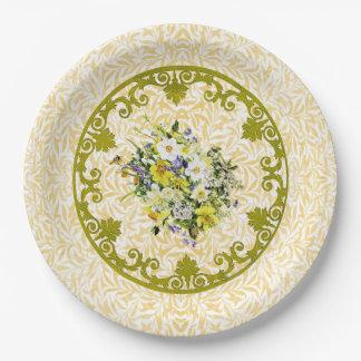 Plato De Papel Placa de oro de la flor