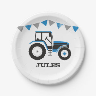 Plato De Papel Placa de papel azul de la fiesta de cumpleaños del