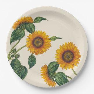 """Plato De Papel Placa de papel botánica 9"""" de los girasoles de oro"""