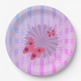 Plato De Papel Placa de papel de la mariposa de la lila para el