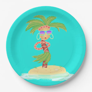 Plato De Papel Placa de papel de la palma de Hula