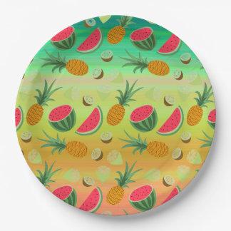Plato De Papel Placa de papel de la sandía de la fruta tropical