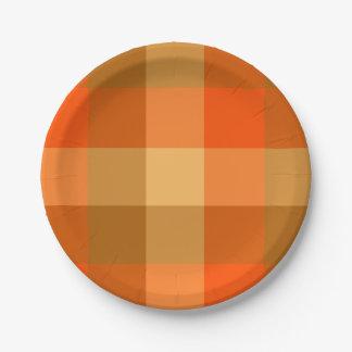 Plato De Papel Placa de papel de la tela escocesa anaranjada