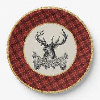 Plato De Papel Placa de papel de la tela escocesa del día de