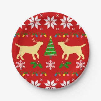 Plato De Papel Placa de papel de Labrador del navidad amarillo de