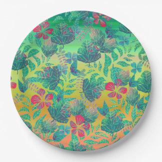 Plato De Papel Placa de papel de las hojas florales tropicales