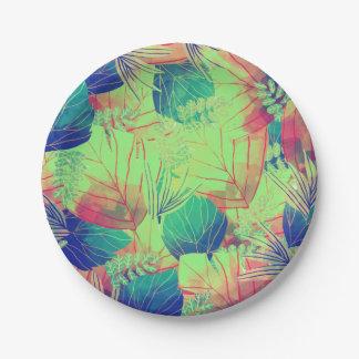 Plato De Papel Placa de papel de las hojas tropicales