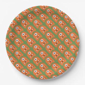 Plato De Papel Placa de papel de los monstruos anaranjados lindos